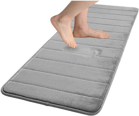 #1. Colorxy 27'' x 70'' Non-Slip Large Soft & Absorbent Memory Foam Bath Mat (Chocolate)