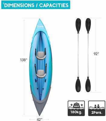 #3. Ztotop 2-Person Two Aluminum Oars & High-Output Air Foot Pump Comfortable Inflatable Kayak