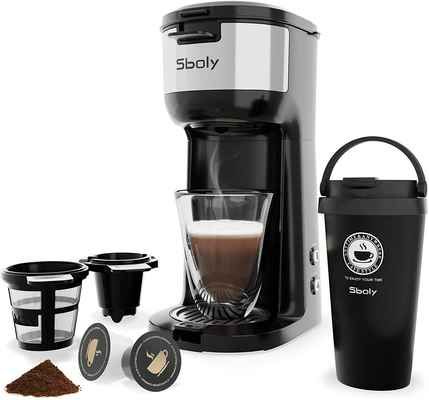 #5. Sboly 6 to 14 Oz Brew Size 3 Mins Fast Brew Single Serve Coffee Maker Machine w/Thermal Mug