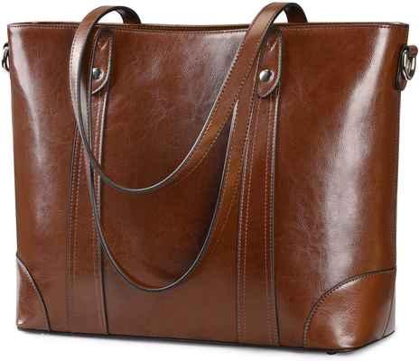 #7. S-ZONE Large Work Tote 15.6'' Handbag Top Polished Leather Laptop Bag Women Shoulder