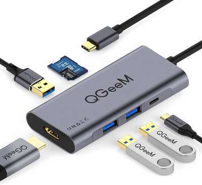 #4. QGeeM Seven-in-One 100W Power Delivered HDMI Compatible MacBook Pro & Windows