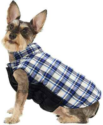 #3. Droolingdog Blue Mixed Coat Warm Plaid Coat Clothes Weather Coat for Small Dogs
