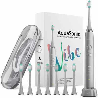 #7. Aquasonic Motor 8 DuPont Brush Heads VIBE Series Ultra-Whitening Electric Toothbrush