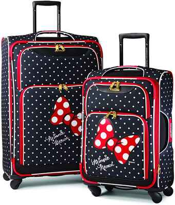 #1. American Tourister 21/28 2Pcs Set Minnie Mouse Red Disney Soft Side Bow w/Spinner Wheels