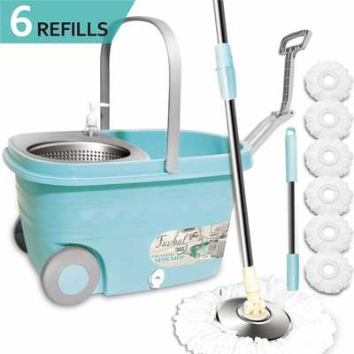 #4. Favbal Stainless Steel Spin Mop and Bucket with Wringer Home Cleaning Kit for Hardwood floors