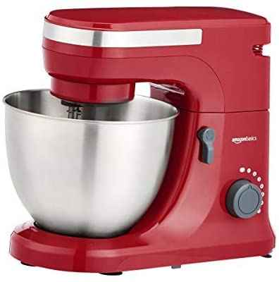 #6. AmazonBasics 10.14lbs 7-Speed Interchangeable Beater Stand Mixer w/Attachments (Red)