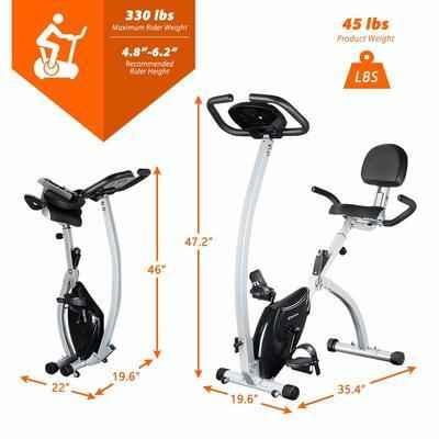 9. BCAN Magnetic Upright Foldable Exercise Bike 330 Lbs. Support (Grey/Black) -2019 Version
