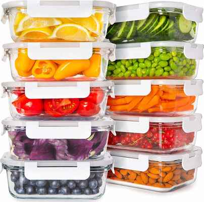 #8. Prep Naturals 20-pcs Glass Food Storage Containers w/Lids Healthier Alternative to Plastic