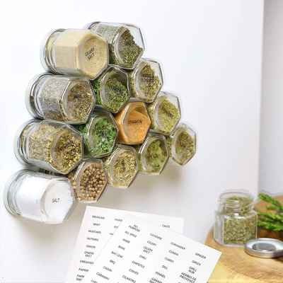 #4. IMPRESA 15-Pack Space Saving Storage for Dry Herbs & Spices w/Stainless Steel Magnetic Lids