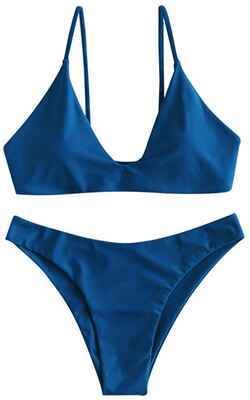 #8. ZAFUL Two-Piece Padded High Cut Women's Tie Back Swimsuit (BlueBerry Blue)