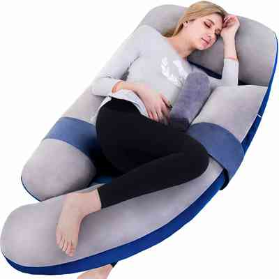 #7. Awesling 60'' Extra-Large U-Shape Detachable Side Separate Support Full Body Pillow (Grey Blue)