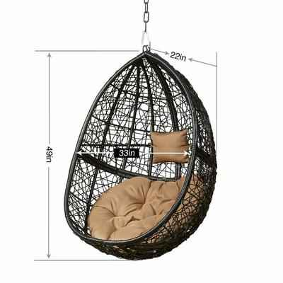 9. GreenStell Weather Hanging Fatness Blue Cushion & Pillow Outdoor Patio Swing Chair (Black)