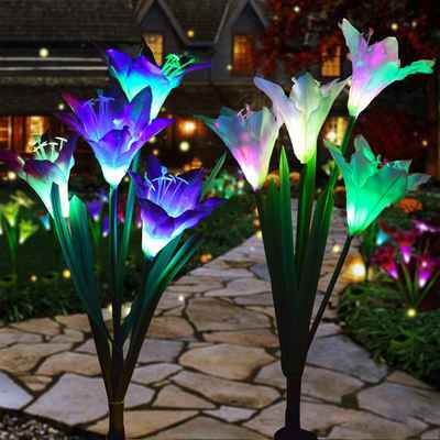 #10. WELIGHT 2-Pack Purple & White Decorative Solar-Powered Garden Light (Lily Flower)