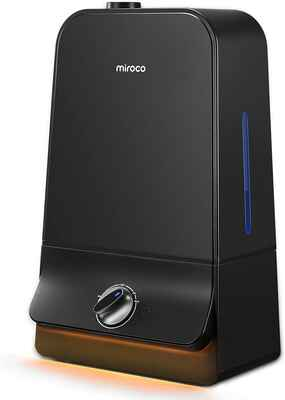 #9. Miroco 20 – 60Hrs Ultra-Quiet 6L 90MM Water Inlet Adjustable Mist Humidifier (Black)