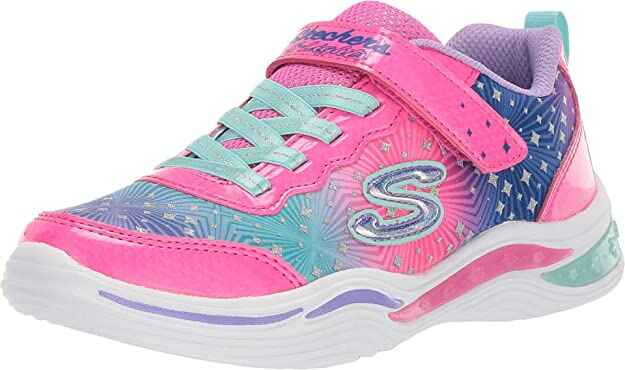 #9. Sketchers Sole Padded Collar & Lightweight Kid's Painted Daisy Sneaker (Pink/Multi)