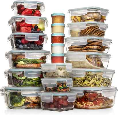#9. Razab 35-Pcs Glass Meal Prep Airtight Glass Bento Boxes FDA-Approved Leak-Proof Containers