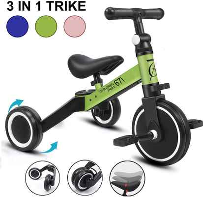 #9. 67i 3-in-1 Kids Tricycles Ages 1 – 3 Years 3 Wheel Convert Removable Pedal Tricycles