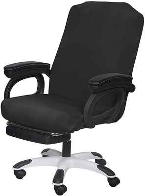 #10.SARAFLORA Large Size Washable Universal Rotating Office Chair Stretch (Black)