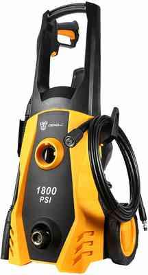 #8. DEKOPRO 1800 PSI with Power Hose Nozzle Gun Built-in Foam Cannon Pressure Washer (Orange)