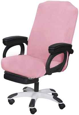 #9. SARAFLORA Computer Chair Slipcovers Large Size Universal Office Chair Cover (Pink)