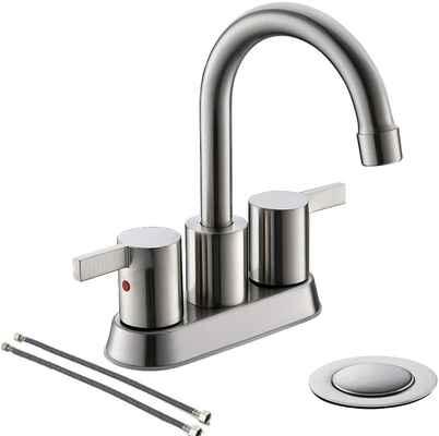 #3. PHIESTINA BF015-1-BN 4'' 2 Handle Center Set Lead-Free Brushed Nickel Bathroom Sink Faucet