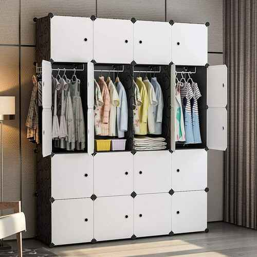 #9. YOZO 25 Cubes 18'' Depth Multi-Use Clothes Wardrobe Organizer Plastic Dresser (Black)