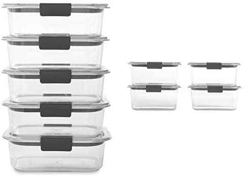 #1. Rubbermaid 9 Bases Brilliance 3.2 & 4.7 Cup Clear 18 Pcs Food Storage Container Set