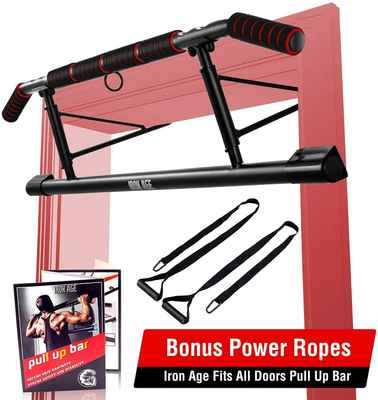 #6. IRON AGE Angled Grip Home Gym Exercise Pull Up Bar w/Shortened Upper Bar