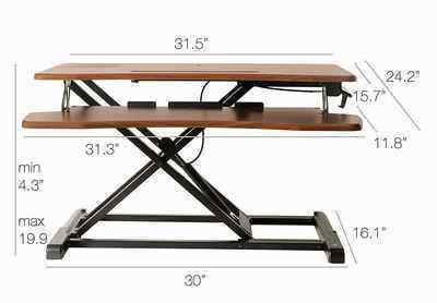 8. TechOrbits 32-Inch Height Adjustable Wood Brown Sit Standing Desk Converter Workstation