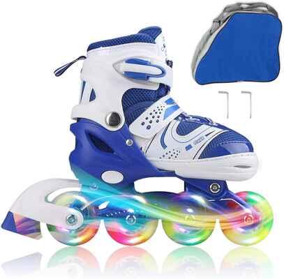 #9. JIFAR Indoor & Outdoor Inline Adjustable Skates for Boys & Girls w/Illuminated Wheels