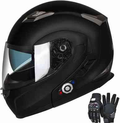 #5. FreedConn Bluetooth Flip Up Dual Visors Built-in Waterproof Motorcycle Helmet (Matte Black, L)