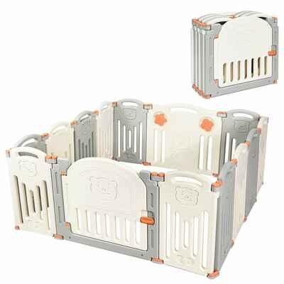 #10. Costzon 14 Panel Foldable Safety Adjustable Shape Baby Playpen w/Locking Gate (Beige & Grey)