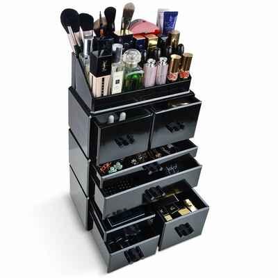 #6. InnSweet Black 4Pcs Acrylic Makeup Jewelry Display Box Makeup Organizer Cosmetic Organizer