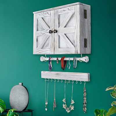 #1. TEEHOME Wooden Wall Mount Rustic Jewelry Organizer w/Wooden Barn Door for Home Décor