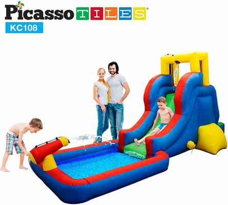 #9. Picasso Tiles KC108 Inflatable Bouncing House w/Pool Area Climbing Wall Heavy-Duty 385W Blower