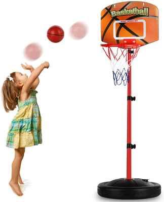 #6. Auggie Adjustable Height 2.5 – 5.1 Ft Mini Indoor Basketball Hoop for Baby Boys Girls Kids