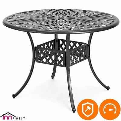 3. InnFinest 42'' Cast Aluminum Umbrella Hole Weave Design Rust-Proof Patio Bistro Dining Table