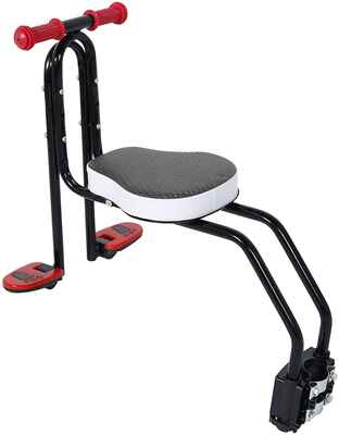 #7. FOUJOY Metal Front Baby Seat Bike Carrier Child Safety w/Handrail & Pedals for 3 – 6 Yrs. Children