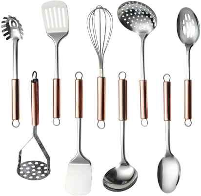#8 Homquen 9Pcs Stainless Steel Kitchen Gadget Cookware Kitchen Utensils Set