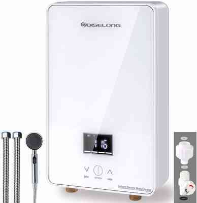 #9. BISELONG 1.8GPM 6.5Kw Compact Size Point-of-Use Digital Display Electric Tankless Water Heater