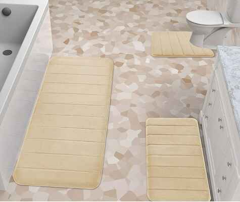 #2. Yimobra Super Water Absorption 3-Pcs Memory Foam Bath Rug Mat (Beige)