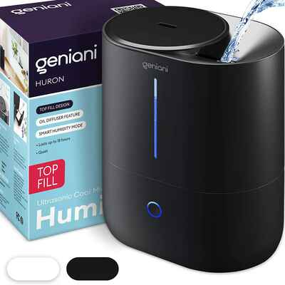 #2. GENIANI 4L Black Easy to Clean Smart Large Room Ultrasonic Humidifier for Home