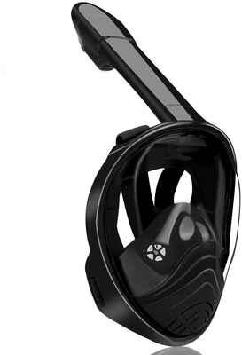 #5. QingSong Anti-Leak Detachable Full Face Snorkeling Mask for Kids & Adult (Black)