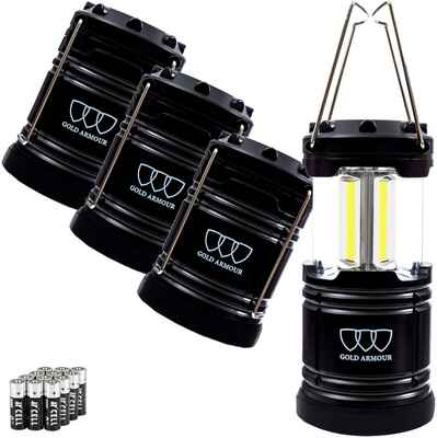 #7. GOLD ARMOUR 500LM Battery Powered 4 Pack Portable Lights Gear LED Camping Lantern (Black)