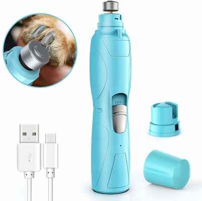 #8. RUCACIO Painless Top-Quality Portable & Rechargeable Powerful Dog Nail Grinder (Blue & White)