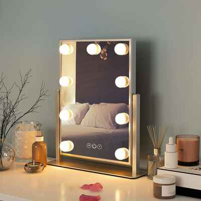 #8. FENCHILIN White Hollywood Mirror w/Light Large Makeup Mirror Vanity 3 Colors