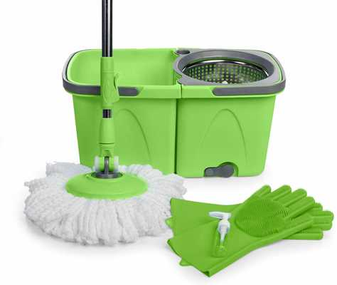 #6. JFB SoftSpin 2-Stage Floor Mop System with Built-in Detergent Dispenser Floors Cleaner (Green)