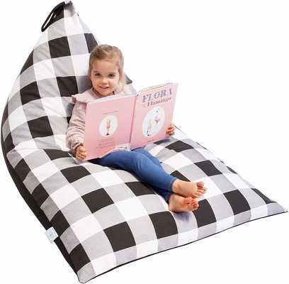#9. Huddle Supply Co Farmhouse Buffalo Plaid Stuffed Bean Bag Seat for Kids, Teens & Adults