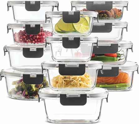 #4. FineDine 24-Pcs Newly Innovated BPA-Free Leak-Proof Oven Safe Glass Food Storage Containers