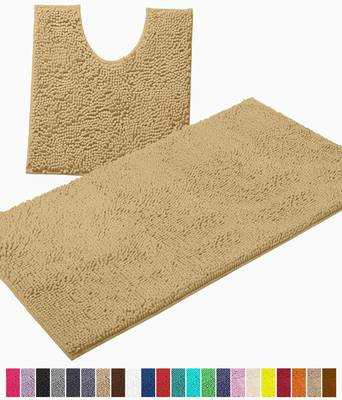 #7. LuxUrux 2Pcs Soft-Plush Anti-Slip Luxury Chenille Absorbent Microfiber Shaggy Bath Mats (Beige)
